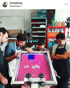 Screenprinting event/ teambuilding with custom logo screens Workshop Sf, Event Photos, Team Building, Custom Logos, Corporate Events, Screen Printing, Teaching, Screens, Party