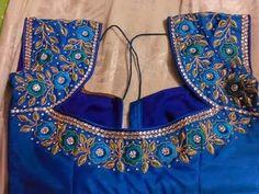 muggum work blouses for designer sarees Hand Work Blouse Design, Simple Blouse Designs, Stylish Blouse Design, Blouse Neck Designs, Dress Designs, Flower Designs, Home Design, Design City, Pattu Saree Blouse Designs