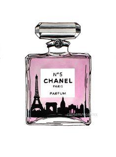 Chanel No5 perfume fashion illustration Paris by Cinnamoncafexx, €5.00