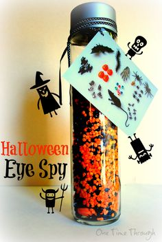Simple to make homemade search and find Halloween eye spy toy for kids! Lots of fun and great for Halloween parties or gifts! {One Time Through}