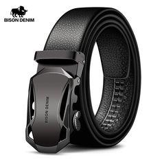 BISON DENIM Men/'s Belt Genuine Leather Anchor Automatic Buckle Men Belts Hollow