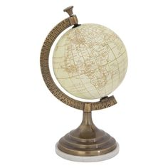 DecMode Sepia Globe on Round Brass and Marble Base - 28490