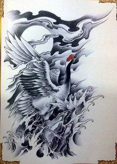 japanese tattoos and what they mean Japanese Drawings, Japanese Tattoo Art, Japanese Tattoo Designs, Japanese Sleeve Tattoos, Japanese Art, Crane Tattoo, Tattoo Bird, Thigh Piece Tattoos, Japan Tattoo Design