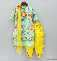 Kids clothing. Sea green kurta with yellow dhoti salwar by little muffet