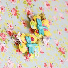 dragonfly flower baby girl hair clips - Hair Fairy Clips