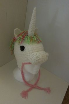 Crocheted Unicorn Beanie. Inspiration for Unicorn beanie came from 'TheCrochetDisplay' on Etsy.