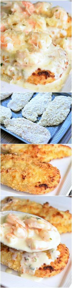 Oven Fried Chicken with Creamy Fontina Shrimp Sauce. AMAZING dinner that will quickly become a family favorite. Chicken, seafood, and a whole lot of delicious comfort all in one dish.