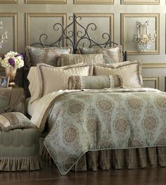 Eastern Accents Marbella Duvet Collection - All Bedding Sets - Bedding Sets - Bed & Bath Best Bedding Sets, Luxury Bedding Sets, Comforter Sets, King Comforter, Glam Bedding, Damask Bedding, Bedding Decor, Linen Bedding, Luxury Bedding Collections