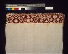 Towel or Cover  Date: 17th century Culture: Italian Medium: Linen; silk; Dimensions: 48 1/4 (with fringe) x 23 in. (122.5 x 58.4 cm)