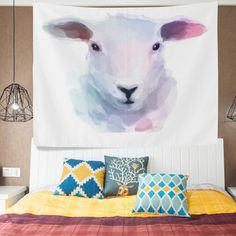 ALAZA Creative Art Oil Painting Animal Sheep Head Tapestry Wall Hanging Artwork Light-weight Polyester Fabric Cottage Dorm Wall Art Home Decoration 60x40 Inches * Click image to review more details. (This is an affiliate link) #Tapestries