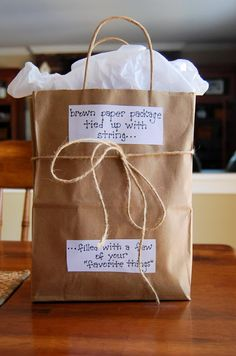 Simple teacher gift idea - brown paper package tied up with string and filled with a few of her favorite things!  (Favorite drink, candy, etc.)  via counting our blessings
