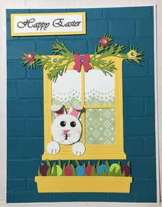 Easter bunny punch art.  Stampin Up Hearth & Home Framelits Dies Handmade card by Wanda Perez.