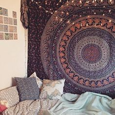 Popular Handicrafts Hippie Mandala Bohemian Psychedelic Intricate Floral Design Indian Bedspread Magical Thinking Tapestry Blue by Popular Handicrafts - Handicrunch Popular Handicrafts Hippie Mandala Bohemian Psychedelic Intricate Floral Design Indian - Bohemian Wall Tapestry, Indian Tapestry, Mandala Tapestry, Tapestry Wall Hanging, Bohemian Decor, Hippie Tapestries, Purple Tapestry, Psychedelic Tapestry, Wall Hangings