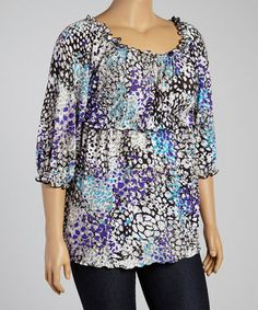 Another great find on #zulily! Blue, Purple & Black Babydoll Top - Plus #zulilyfinds