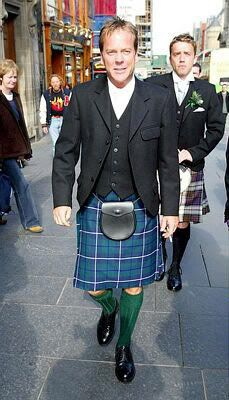 Kiefer Sutherland. This is a serious post. I LOVE MEN IN KILTS. Always have. Your rock it Kiefer.