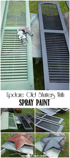 Spray Paint Updates / Low Cost and High Impact / House Makeover Ideas repurposed Plastic Spray Paint Colors, Spray Paint Cans, Exterior Paint Colors, Painting Shutters, House Painting, Painting Plastic, Spray Painting, Painting Tips, Gouache Painting