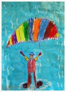 Mensfiguur met paraplu in de regen van wasco en ecoline