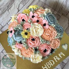 Buttercream Flower Cake by ElleBaking แต่งหน้าเค้กดอกไม้ บีบดอกไม้ www.ellebaking.com