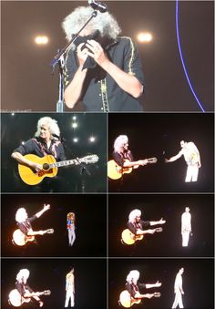 Brian May reacts after performing with Freddie's hologram. Queen Photos, Queen Pictures, Queen Band, Brian May, I Am A Queen, Save The Queen, Musica Love, Queen Meme, Roger Taylor