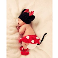 Newborn Baby Girl Crochet Minnie Mouse Earflap by dreammadestudio, $20.00