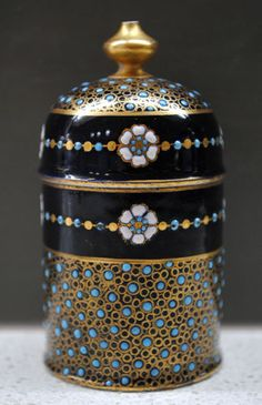 RARE C1880 Antique Coalport gilded turquoise jewelled beaded lidded box pot #1/2   eBay