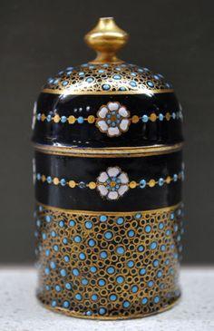 RARE C1880 Antique Coalport gilded turquoise jewelled beaded lidded box pot #1/2 | eBay