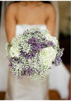***Bridesmaids -- I'd like their bouquets to have more white than lavender. I like the look of baby's breath. This bouquet in particular is too round.***