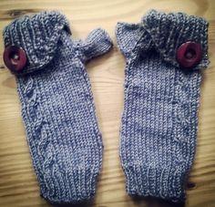 gestrickte fingerlose Handschuhe :-)