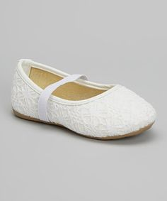 Ositos Shoes White Crochet Glitter Mary Jane by Ositos Shoes #zulily #zulilyfinds
