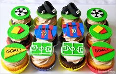 Soccer theme cupcakes By Be Sweet by Maria