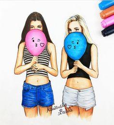 Les 2 filles du docteur march dessin animé faire soi meme visages amies dessin coloré