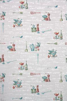 1950s midcentury kitchen vintage wallpaper with teal and pink from Hannah's Treasures Vintage Wallpaper #vintagewallpaper