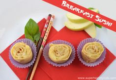 We have another fun breakfast idea for your kids today! Apple Filled Crepe Sushi! We made our standard whole wheat crepes, and rolled them with cooked and crushed apples. Then we cut them like sushi. There were no leftovers, I promise! superhealthykids.com #healthybreakfast #sushiforkids #healthykids