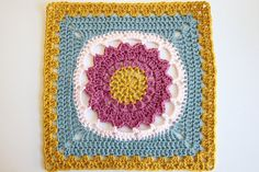 105/365 - Starfire flower sun  afghan square -  free crochet granny square pattern