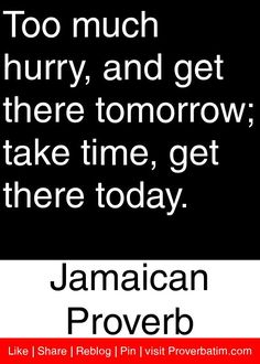 Too much hurry, and get there tomorrow take time, get there today. Me Quotes, Motivational Quotes, Inspirational Quotes, Jamaican Proverbs, Wise Men Say, African Proverb, Proverbs Quotes, Famous Words, Mindset Quotes