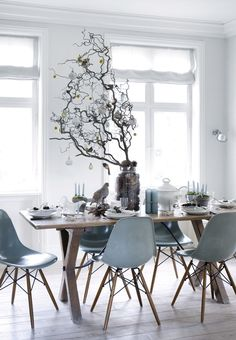 Nordic and elegant table setting for christmas with beautiful decorations.