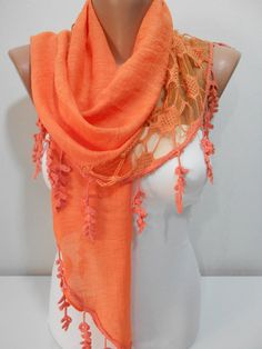 Orange Scarf Shawl Spring Scarf Summer Scarf Triangle Scarf Cowl Scarf Women's Fashion Accessories Gift Ideas For Her, MiracleShine on Etsy, $16.90