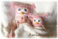Crochet Newborn Owl Gift Set (Newborn Hat & Stuffed Animal) Pink or Brown on Etsy, $37.00