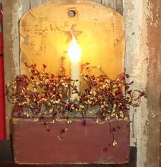 Primitive Lighted Wooden Box with Berries-Primitive Tote, Primitive Box, Primitive Berry Arrangement, Primitive Lighting, Country Primitive ...