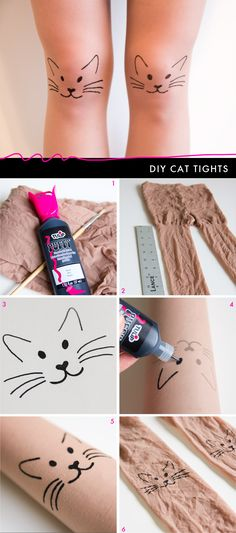 DIY cat tights tutorial -- she uses sheer stockings, but I can totally see this on leggings.