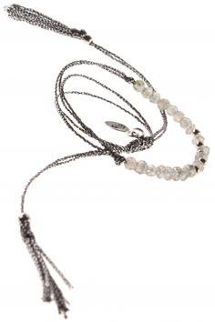 #grey lace bracelet with labradorite button I designed for NEW ONE I NEWONE-SHOP.COM