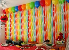 Princess Party Ideas—Birthday tips by a Professional Party Planner streamer backdrop<br> Rainbow Party Decorations, Birthday Party Decorations Diy, Halloween Party Decor, Birthday Parties, Food Decorations, Diy Streamer Decorations, Crepe Paper Decorations, Birthday Centerpieces, Birthday Streamers