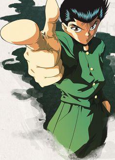 Character: Yusuke Urameshi from Yu Yu Hakusho Manga Anime, Anime Nerd, Anime Comics, Yu Yu Hakusho Anime, All Anime Characters, Yoshihiro Togashi, Poses References, Animation, Aesthetic Anime