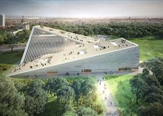 Snøhetta, SANAA, Budapest museum competition, New National Gallery Budapest, Ludwig Museum Budapest, museums, competitions, sloping roof, green architecture, Japanese architects, Norwegian architects: #greenroofs #japanesearchitecture