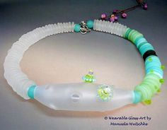 Unique Artist Lampwork and silver necklace - Just B.  - handmade glass and silver necklace by Manuela Wutschke
