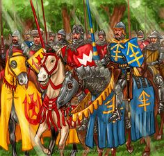 "The Battle of Grunwald 1410.The battle was one of the largest battles in Medieval Europe and is regarded as the most important victory in the history of Poland, Belarus and Lithuania. The illustration Polish knights before battle sing the song ""Mother of God""."