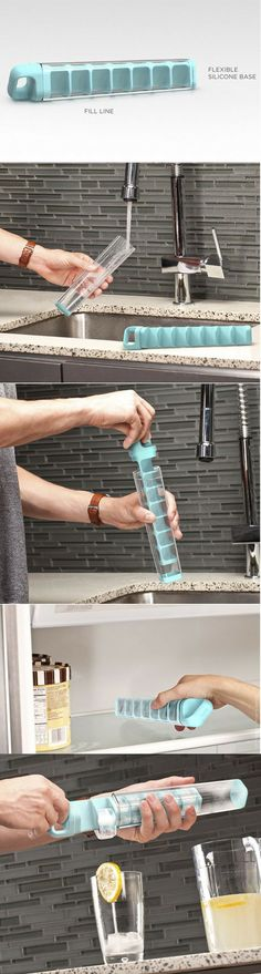 Cube Tube is a vertical ice cube tray that prevents you from spilling water while transporting a full tray of water to your freezer. It also provides the user better control while dropping the ice into a drink.
