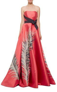Carolina Herrera Strapless Feather Jacquard Ball Gown - Preorder now on Moda Operandi