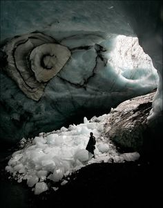 Possible room decor inspired by the color scheme in this photo?  Ice Cave in Iceland by Maxim Popov