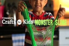 Learn how to make gooey monster slime TWO ways with this sensory craft. Don't worry - the slime washes off hands easily with soap and water!